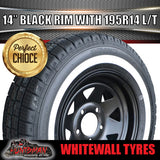 14X6 HQ Pattern Black Steel Rim & 195R14C Whitewall Tyre. 195 14