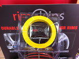 "RIMSKINS-4X YELLOW 20"" DUABLE PROTECTION FOR YOU RIMS-MAGS COVERS WHEEL DAMAGE"