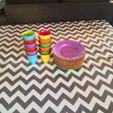 Grey Chevron Plastic Tablecloth - Square
