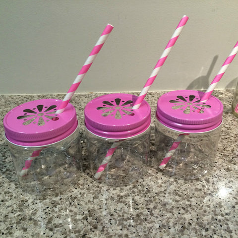 Plastic Mason Jars with Daisy cut lids