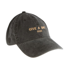 Load image into Gallery viewer, Give A Shit 2020 embroidered on Black Denim Hat With Logo on Side and Favored Nations on back