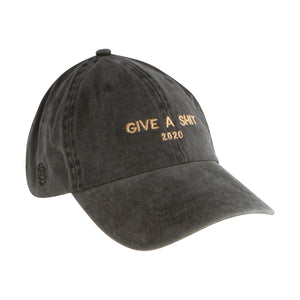 Give A Shit 2020 embroidered on Black Denim Hat With Logo on Side and Favored Nations on back