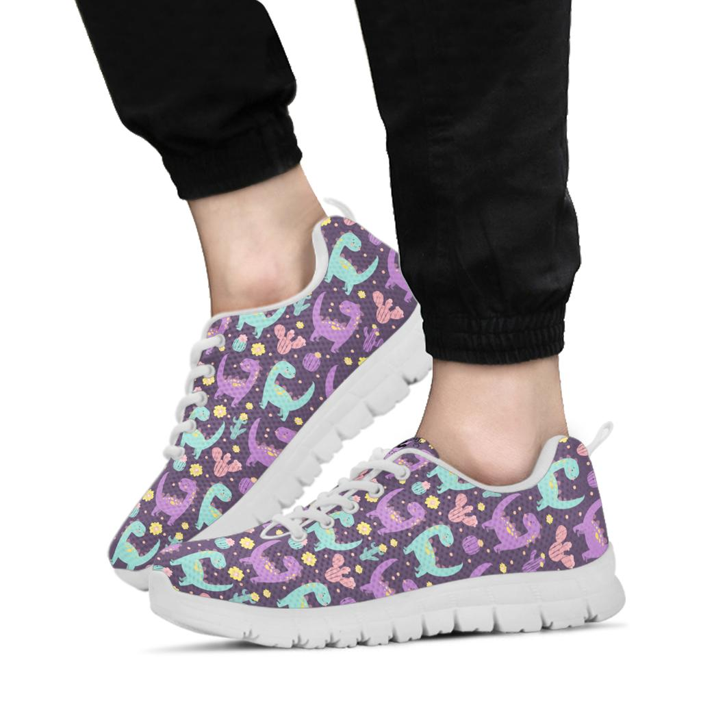 Purple Dinosaur Cactus - Girls Dinosaur Shoe