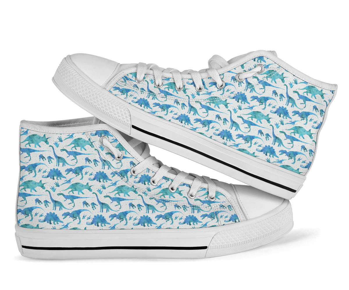 Blue Watercolor - Dinosaur High Tops
