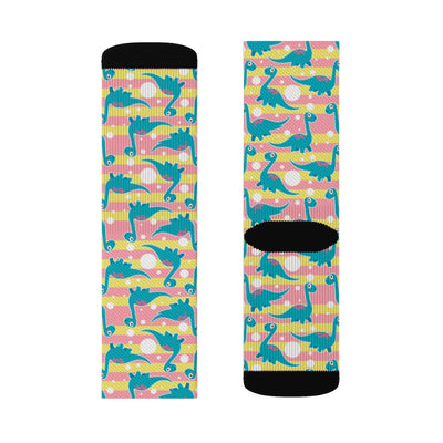 Pink And Yellow Brontosaurus - Womens Dinosaur Socks