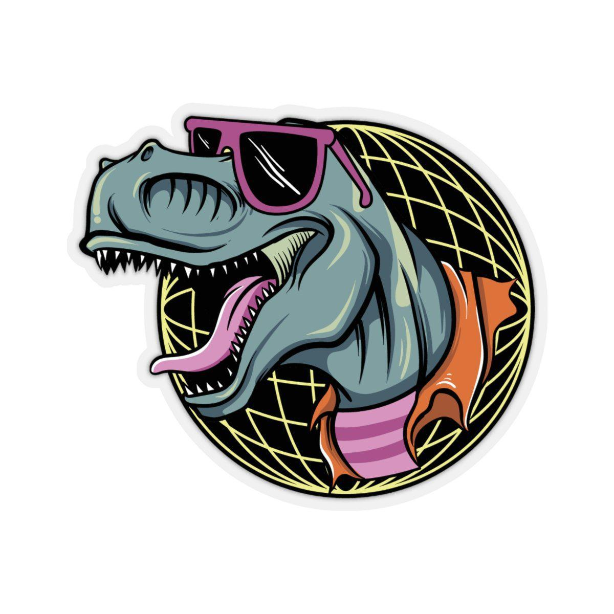 This is a rad neon dinosaur sticker with a 1980's vibe.