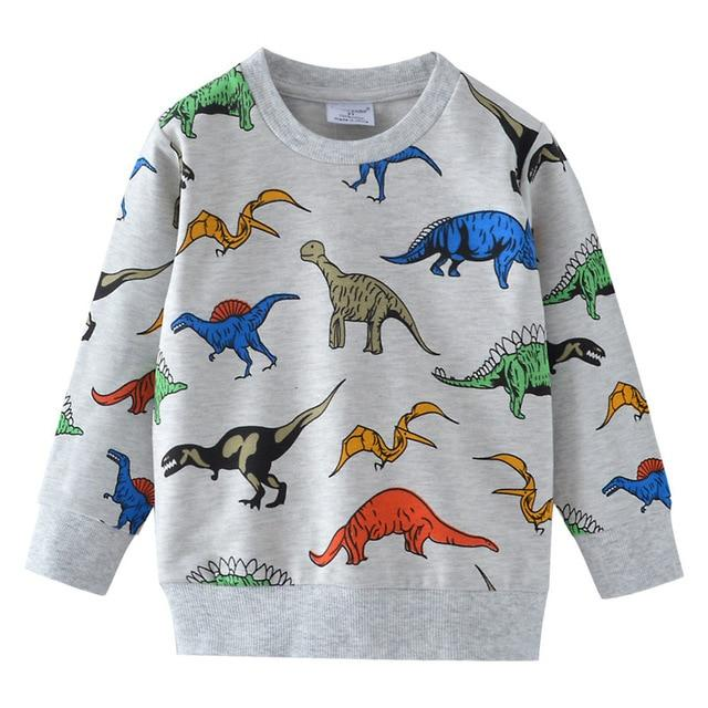Dinosaur sweater for toddlers featuring multicolored dinosaurs.