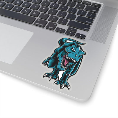 4x4 dinosaur sticker with a greenish blue t-rex roaring at his enemy with a transparent border.