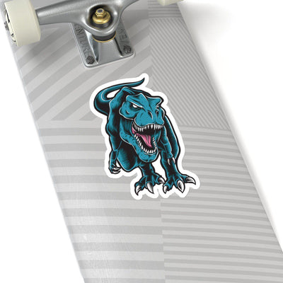 6x6 dinosaur sticker featuring an angry t-rex roaring right at you with a white border.