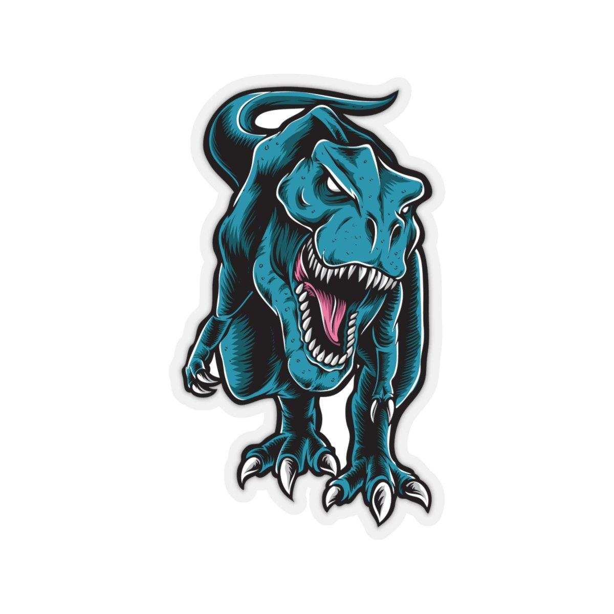 A dinosaur sticker of an angry t-rex. This t-rex sticker is extremely fierce and aggressive.
