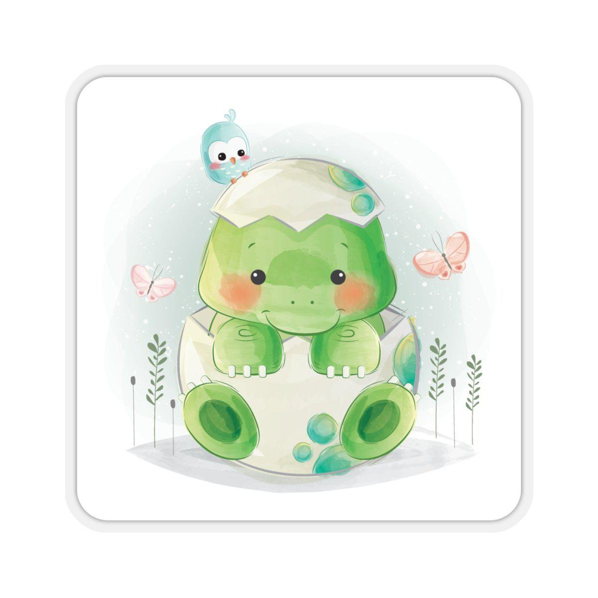 A cute baby dinosaur watercolor sticker. The baby dinosaur is coming out of his shell, with a bird and butterflies for company.