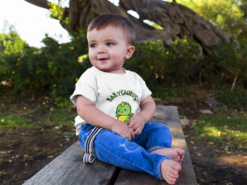 Dinosaur t-shirt for babies with a cute baby dinosaur titled Babysaurus. Perfect baby shower gift.