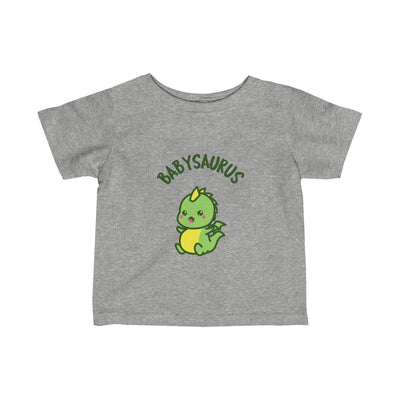 Grey t-shirt for babies featuring a baby dinosaur title Babysaurus.