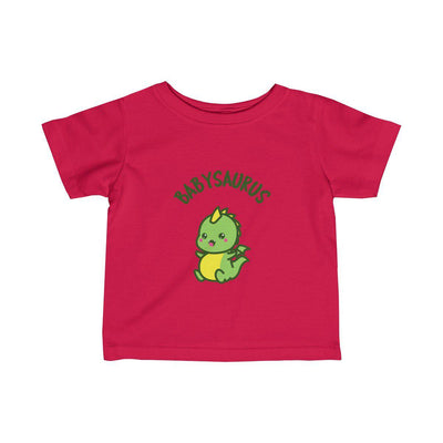 Red t-shirt for babies featuring an excited and cute baby dinosaur with the text Babysaurus above his head..