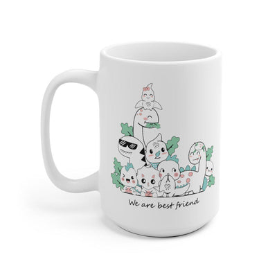 15 oz mug featuring cute baby dinosaurs hanging out together as best friends.