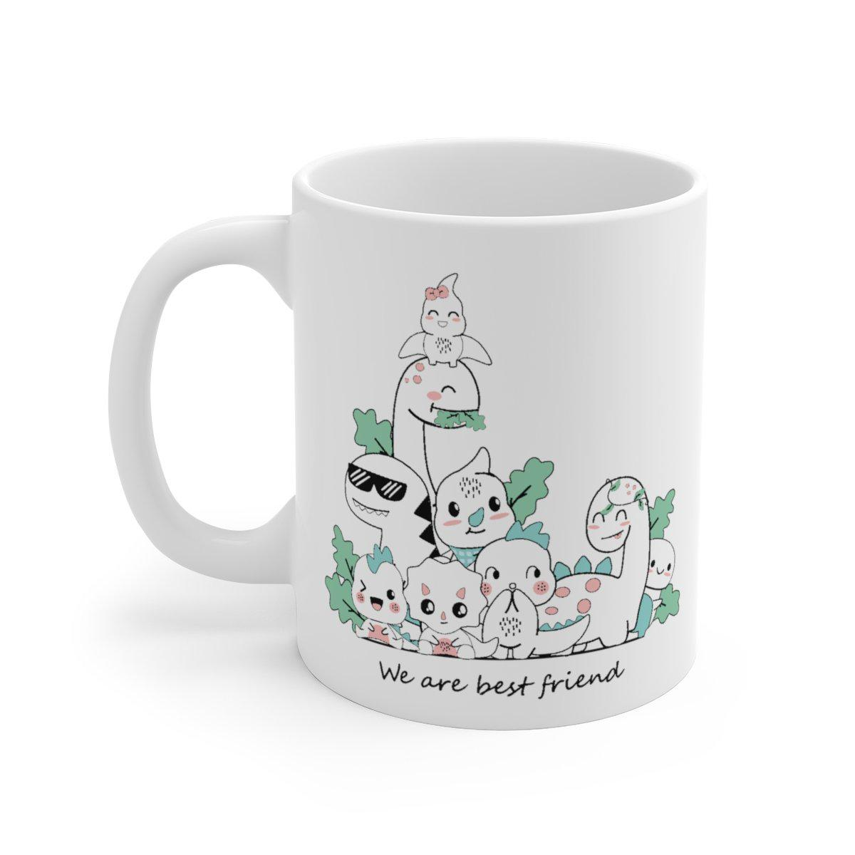 All of your favorite dinosaur friends on a cute dinosaur mug.