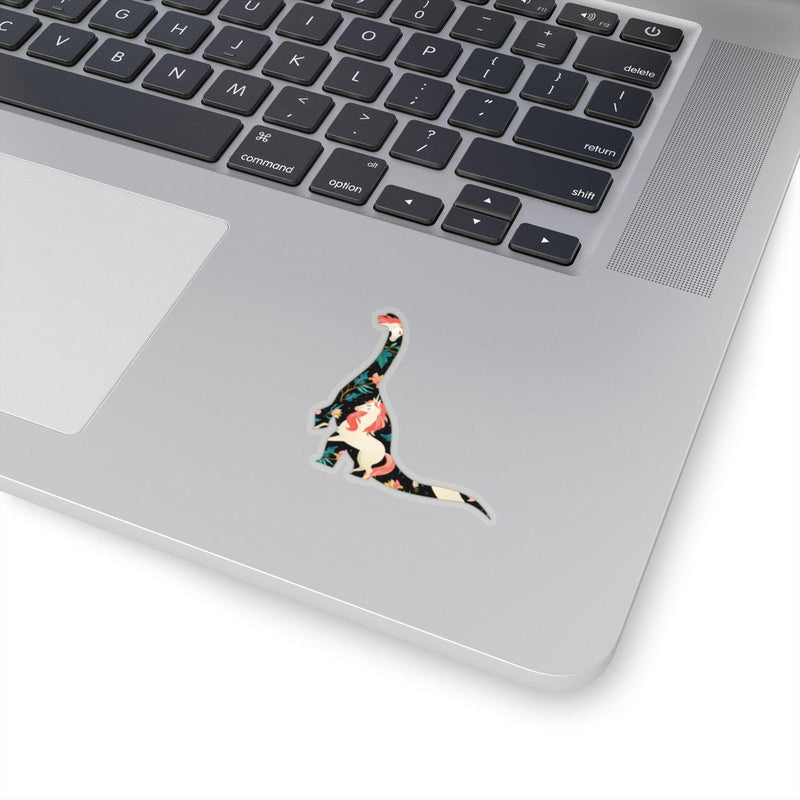 Sticker featuring a classy and regal unicorn pattern inside of a brontosaurus outline.