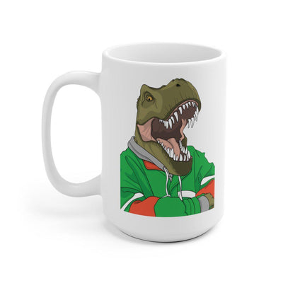 15 oz t-rex mug featuring t-rex relaxing with his arms crossed.