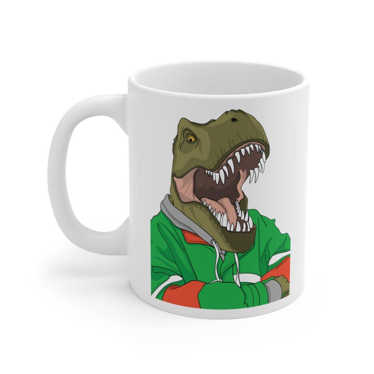Dinosaur mug with t-rex wearing a green hoodie, crossing his arms, and relaxing.