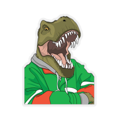 A dinosaur sticker with t-rex relaxing with his hoodie on.
