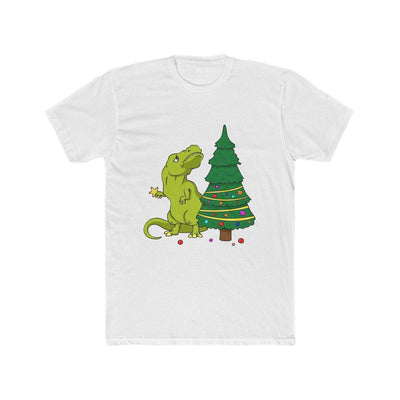 White dinosaur shirt depicting t-rex attempting to put the star on top of the Christmas tree. However, t-rex's arms are too short to reach the top of the Christmas tree.