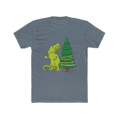 Solid indigo t-rex t-shirt where t-rex has the Christmas tree topper in his hands, but he cant figure out how to reach the top of the tree since his arms are so short.