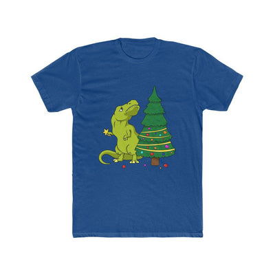 Royal blue dinosaur shirt showing t-rex attempting to place a Christmas ornament on the top of the Christmas tree. However, his arms are definitely too short.