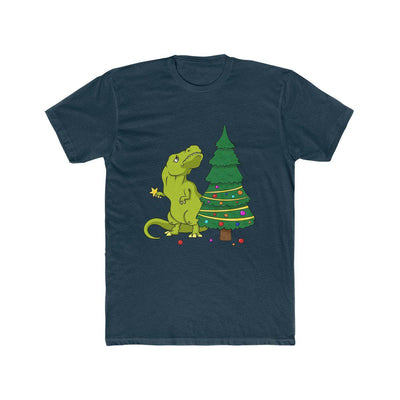 Midnight colored dinosaur t-shirt with T-Rex looking distraught because he can't reach the top of the Christmas Tree with his short arms.