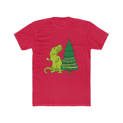 Red Christmas dinosaur t-shirt depicting a sad t-rex trying to figure out how to place the star on top of the Christmas tree with his tiny arms.