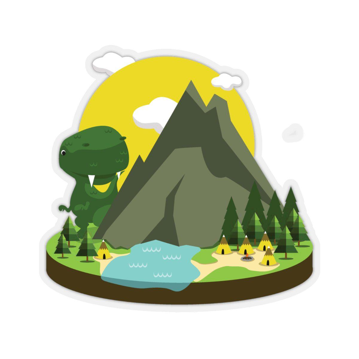 Dinosaur sticker with T-Rex peaking around a mountain looking over native american teepees.