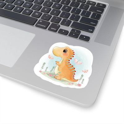 3x3 Watercolor dinosaur sticker featuring an orange baby dinosaur playing in a field with pink flowers and butterflies.