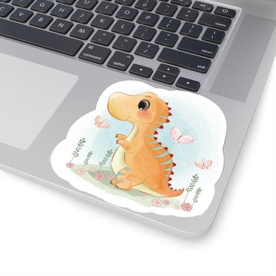 4x4 Watercolor dinosaur sticker featuring an adorable orange baby dinosaur playing in a field with three pink butterflies.