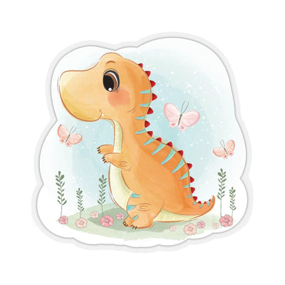 A dinosaur sticker with an orange watercolored baby dinosaur playing in a field with pink butterflies.