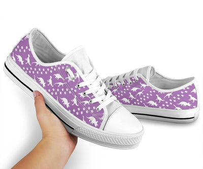 Purple Dino Stomp - Womens Dinosaur Low Top Shoes