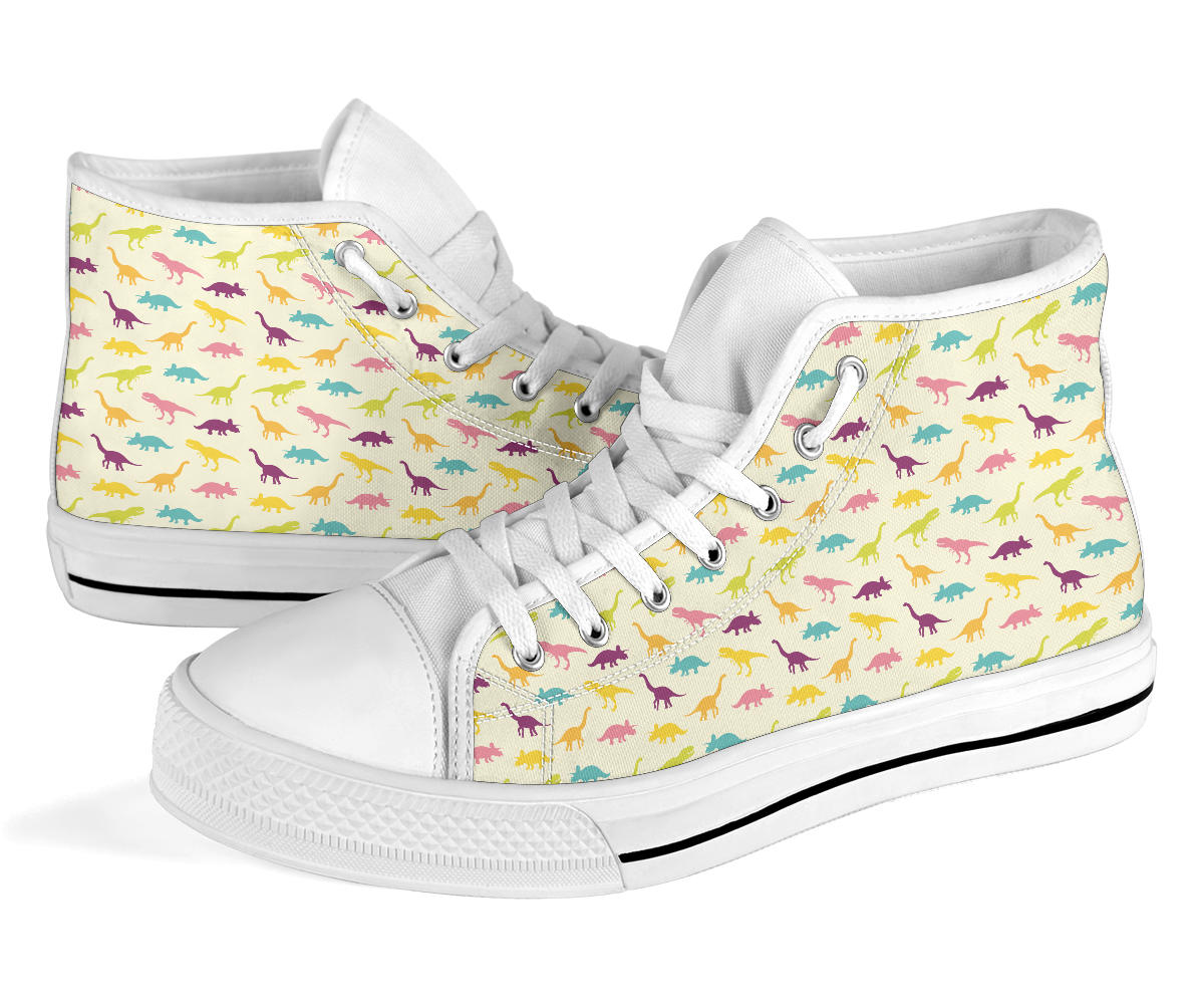Womens Dinosaur High Tops Colorful