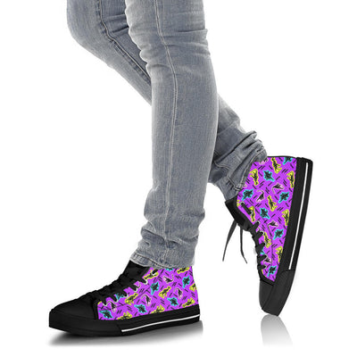 Purple 90s Neon Dinos - Womens Dinosaur High Tops