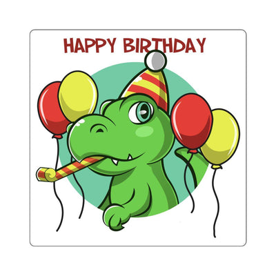 T-Rex is celebrating his and your birthday on this awesome Happy Birthday T-Rex Sticker.