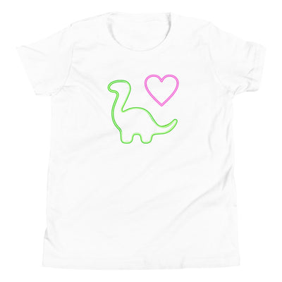 Neon Dino Love - Girls Dinosaur Shirt