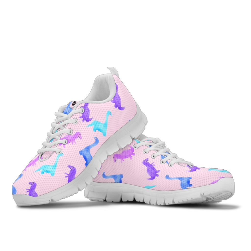 Pink Watercolor - Dinosaur Sneakers