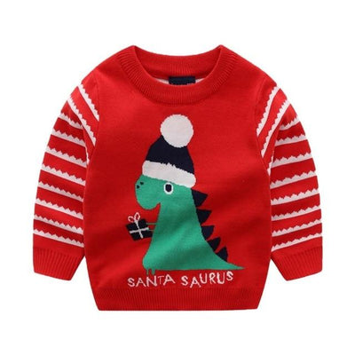Dinosaur Christmas Sweater For Kids