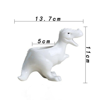 White Ceramic Dinosaur Flower Pot