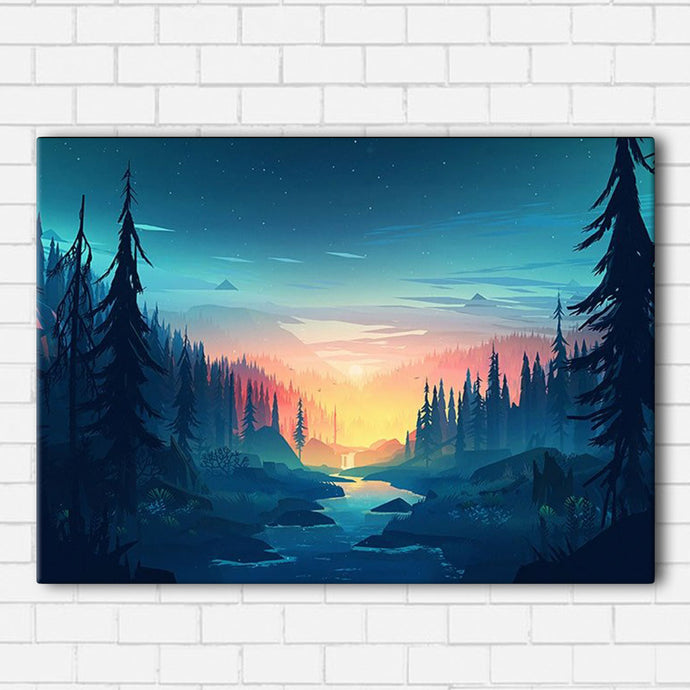 Sunset Over Stream Canvas Sets