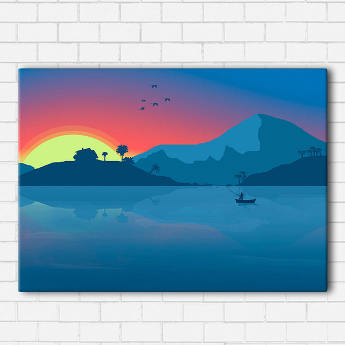 Fishing At Sunset Canvas Sets