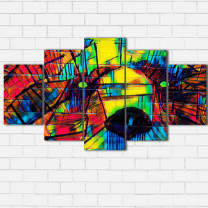Grizzly On Brick Color Splash Canvas Sets