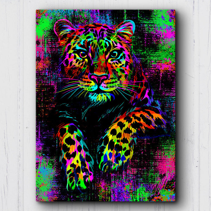 Neon Drip Leopard Canvas Sets