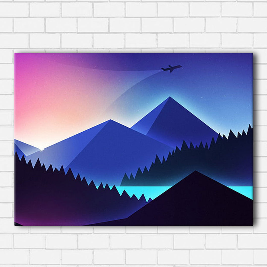Neon Mountains Canvas Sets