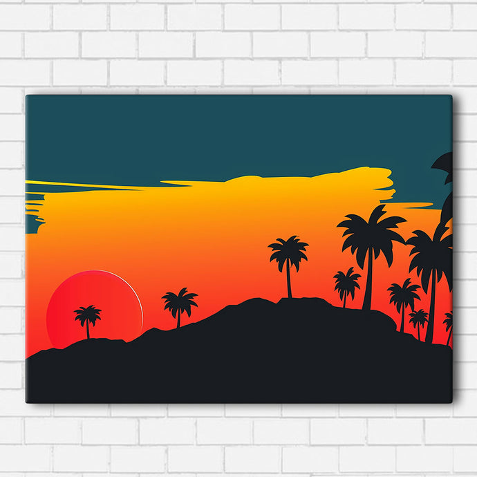 Palms At Sunset Canvas Sets