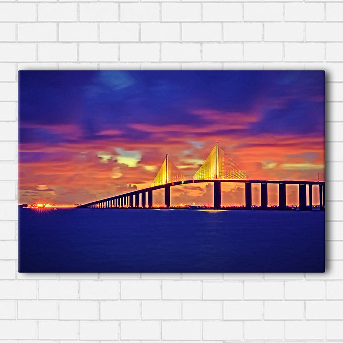 Skyway Bridge Sunset Canvas Sets