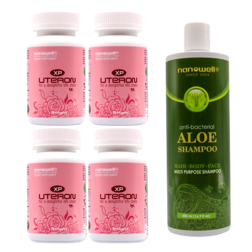 4 Bottles of Uteron Xp 90c + Aloe Shampoo