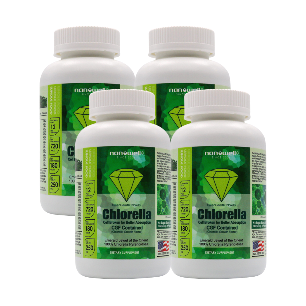 4 Bottles of GreenGem Chlorella -180g